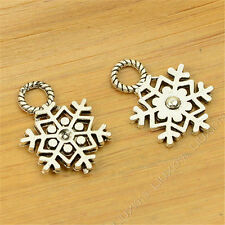 20pc Charms Christmas Snowflake Pendant Crafts Tibetan Silver Accessories S698S