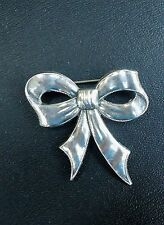 Vintage Stamped Sterling Silver Bow Ribbon Brooch Pin 6.7 grams sweet!