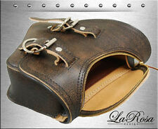 La Rosa Rustic Brown Leather Zipper Open Harley Softail Chopper Left Saddlebag