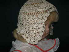 True ANTIQUE Hand Crocheted Dark Cream Baby Night Cap Hat Bonnet