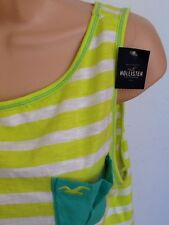 NEW - HOLLISTER, Size M (12) lime green & white striped vest top