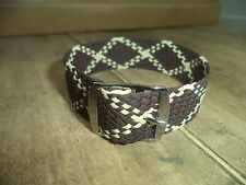 RARE 18,19 mm Rare Vintage vtg Perlon Watch Strap Braided Nylon Band Brown