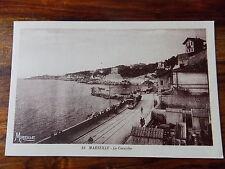 Carte postale ancienne animée Marseille La Corniche Tramway Bouche du Rhône 13