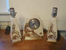 Vintage Session Deer Desk Mantel Clock w/ Matching Lamps Howell China 22 Kt Gold