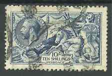 SG411 THE 1915 DLR 10/- DEEP BLUE GOOD TO FINE USED CAT £1000