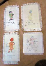 4 Antique All-Silk NEW YEARS FOLK ART: Like Sunbonnet Babies-Montana Estate 1885
