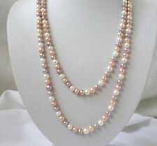 """New 7-8mm white pink purple freshwater pearls necklace 50"""""""