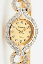 Designer $5000 1ct Diamond GENEVE 14k Yellow Gold Ladies Dress Watch 27g
