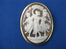 VINTAGE 14K YELLOW GOLD CAMEO SHELL THREE GRACES BROOCH PIN PENDANT