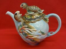 Franz Porcelain Sea Turtle Tea Pot - 3 D EUC