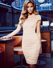 BNWT Lipsy VIP Nude Mesh Stripe Panel Shift Pencil Dress Size 14 £95 Party Xmas