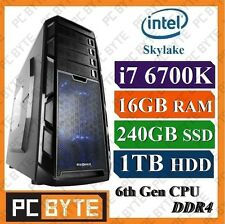 Intel 4-Core i7 6700K 4.2GHz 16GB DDR4 1TB 240GB SSD Gaming Computer Desktop PC