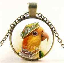 Vintage Woman Parrot Photo Cabochon Glass Bronze Chain Pendant Necklace
