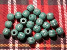 Bag of 25 Large Moss Green Wood Carved Oblong Barrel Macrame Craft Beads 13/16""