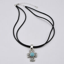 Barse Jewelry Sterling Silver and Turquoise Cross Necklace