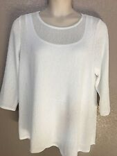 $76 (NWT) Alfani Women's Plus 3X White Bat-Wing Sleeve Textured Mesh Top & Tank
