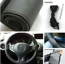 Black Artificial Leather Sweat Steering Wheel Cover & Needle Thread For Toyota