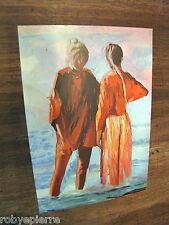 Cartolina mostra pittore Mario Berrino Milano 1982 Le amiche sul bagnoasciuga