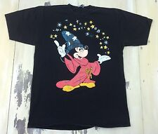 MICKEY MOUSE - Vtg 80s-90s Wizard Disney Fantasia Black T-Shirt, Fits Adult S-M