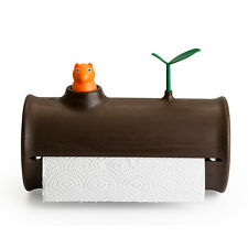 Qualy Squirrel Log & Roll Kitchen Dining Paper Tissue Towel Holder Rack