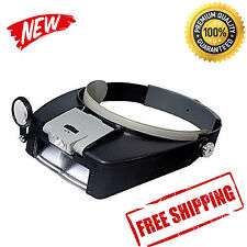 Jewelers Head Headband Magnifier Magnifying Glasses Light Visor Loupe LED NEW