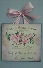 Paris French Shabby Romantic Pink Rose Country Chic 1- Wall Decor Sign/Plaque