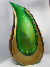 Large Mid Century ONESTO Murano Sommerso Teardrop Cased Green Vase Signed FC MCM