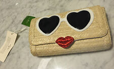 NEW $298 KATE SPADE - Sunglasses face straw woven splash out clutch PXRU5481