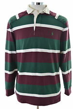 Polo Ralph Lauren Mens Rugby Polo Shirt Small Multi Stripes Cotton Loose Fit