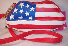 Betsey Johnson Crossbody Purse Bag Flag Patriotic USA Lips Mouth