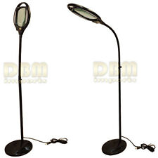 BLACK Reading Magnifier Floor Stand LAMP Light Flexible Goose Neck Magnify Glass