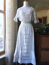 Edwardian Dress Bobbin Lace Whitework Embroidered Gown Antique Lawn Tea 1910s