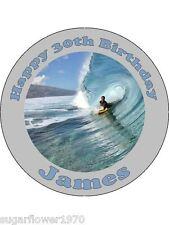 Personalizado de Bodyboard Surf Comestibles glaseado tarta de cumpleaños Topper Ronda