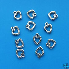 10 Tibetan Silver Fancy Heart Charms 14mm x 13mm Large