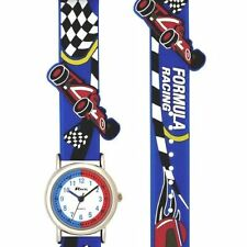 CHILDRENS BOYS FORMULA RACING GRAND PRIX 3D BLUE STRAP TIME TEACHER GUARANTEED
