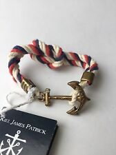 Kiel James Patrick KJP Knot Rope Anchor Sailor Bracelet Cotton Red White Blue