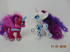 My Little Pony - 2 Little White/dark pink  Unicorn Ponies w/Purple Hair 5-6""