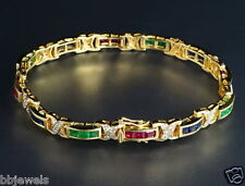 "14K Yellow Gold Over Diamond Square Emerald, Sapphire,Ruby Tennis Bracelet 6.5"""