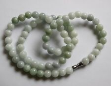 Certified Natural  A  Untreated Light Lavender Green Jadeite JADE Necklace #085