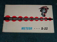 1962 MERCURY METEOR & S-33 OWNER'S MANUAL / OWNER'S GUIDE / GOOD ORIGINAL!!!