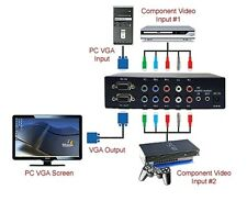 Component To VGA Converter Switcher With 2 Component Video Input + 1 VGA In
