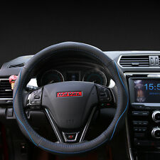 Vehicle Leather Fiber Steering Wheel Cover Breathable Black Blue Non-slip