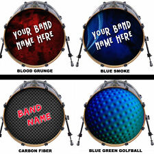 "Custom 20"" Bass Drum Head DECAL Skin Wrap Kick Sticker Vinyl Double FREE DESIGN"