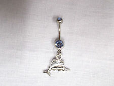 NEW 2 SIDED DEEP OCEAN SAILFISH / SWORDFISH CHARM on 14g BABY BLUE CZ BELLY RING