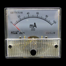 DC 100mA Analog Panel AMP Current Meter Ammeter Gauge 85C1 0-100mA DC White
