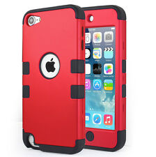 Apple iPod Touch 5th 6th Generation Case Fashion 3 layer Cover For Girls -Red
