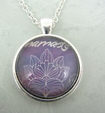Yoga Namaste Purple Lotus Flower Silver Glass Necklace New in Gift Bag