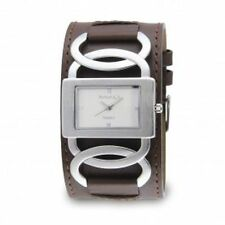 Nemesis Silver/Black Cross Arc Ladies Watch with Leather Band Girls Womens