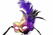 Fancy Dress Ostrich Feather Masquerade Mask Costume Prom Party Halloween Fun