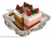 """3 Slices of Cake + 1 Silver Tray works for 18""""  Dolls Food Accessories"""